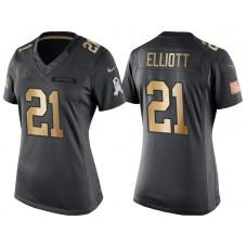 Women's Cowboys #21 Ezekiel Elliott Anthracite Gold Special Edition Salute to Service Jersey