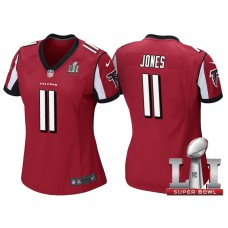 Women's Atlanta Falcons #11 Julio Jones Red 2017 Super Bowl LI Patch Game Jersey