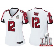 Women's Atlanta Falcons #12 Mohamed Sanu White 2017 Super Bowl LI Patch Game Jersey