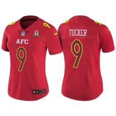 Women's AFC 2017 Pro Bowl Baltimore Ravens #9 Justin Tucker Red Game Jersey
