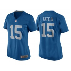 Women's 2017 Detroit Lions #15 Golden Tate Blue Throwback Game New Jersey