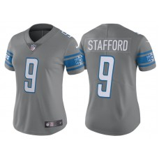 Women's 2017 Detroit Lions #9 Matthew Stafford Steel Color Rush Limited New Jersey