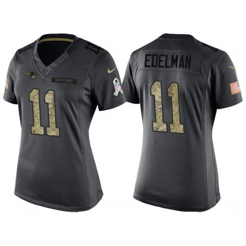 Women New England Patriots #11 Julian Edelman Camo Anthracite 2016 ...