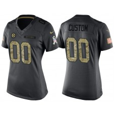 Women's Pittsburgh Steelers Anthracite Camo 2016 Salute to Service Veterans Day Customized Jersey