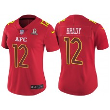 Women's AFC 2017 Pro Bowl New England Patriots #12 Tom Brady Red Game Jersey