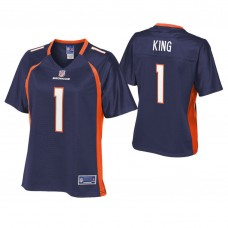 Women's Denver Broncos #1 Marquette King Navy Pro Line Alternate Player Jersey