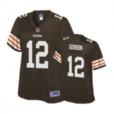 Women's Cleveland Browns #12 Josh Gordon Brown Player Historic Logo Jersey