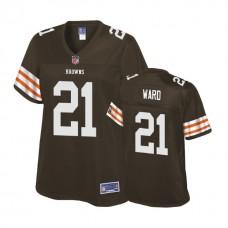 Women's Cleveland Browns #21 Denzel Ward Brown Player Historic Logo Jersey