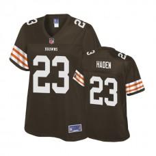 Women's Cleveland Browns #23 Joe Haden Brown Player Historic Logo Jersey