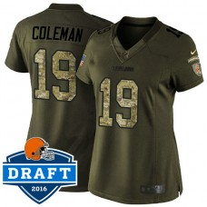Women's Cleveland Browns #19 Corey Coleman Green Salute To Service Jersey