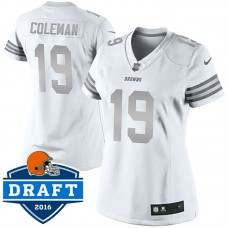 Women's Cleveland Browns #19 Corey Coleman White Platinum Limited Jersey