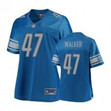 Women's Detroit Lions #47 Tracy Walker Blue 2018 Draft Player Jersey