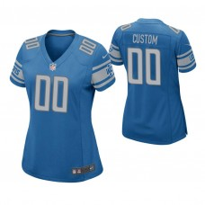 Women's Detroit Lions Blue Game Customized Jersey