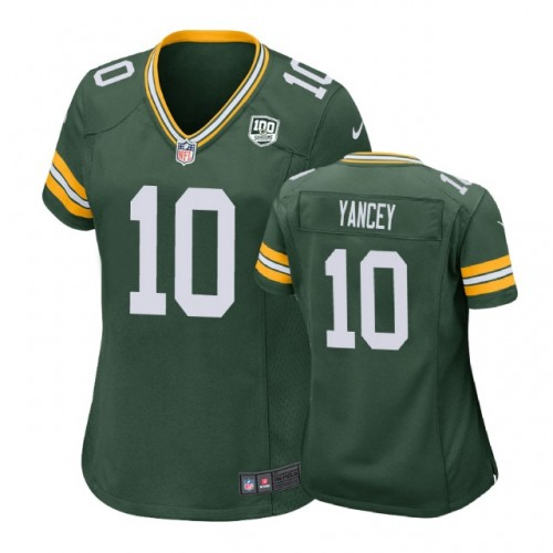 Women Green Bay Packers #10 DeAngelo Yancey 100th Anniversary Game Green Jersey