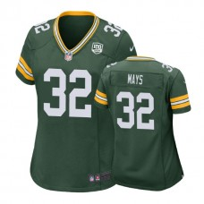 Women Green Bay Packers #32 Devante Mays 100th Anniversary Game Green Jersey