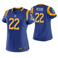 Women's Los Angeles Rams #22 Marcus Peters Royal Game Jersey