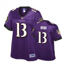 Women's Baltimore Ravens #13 John Brown Purple Player Jersey