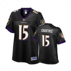Women's Baltimore Ravens #15 Michael Crabtree Black Player Jersey