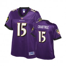 Women's Baltimore Ravens #15 Michael Crabtree Purple Player Jersey