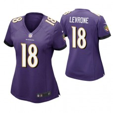 Women's Baltimore Ravens #18 Andre Levrone Purple Game Jersey