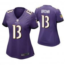 Women's Baltimore Ravens #13 John Brown Purple Game Jersey