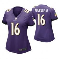 Women's Baltimore Ravens #16 Quincy Adeboyejo Purple Game Jersey