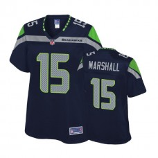 Women's Seattle Seahawks #15 Brandon Marshall Navy Pro Line Player Jersey