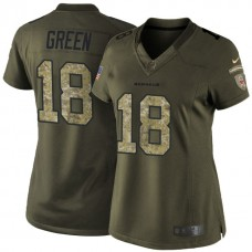Women's Cincinnati Bengals #18 AJ Green Green Salute To Service Limited Jersey