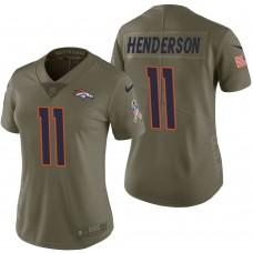 Women's Denver Broncos #11 Carlos Henderson Olive 2017 Salute to Service Limited Jersey