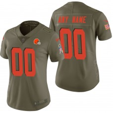 Women's Cleveland Browns Olive 2017 Salute to Service Limited Customized Jersey