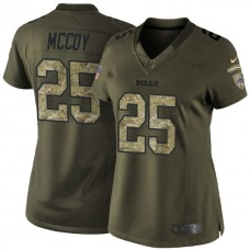 Women's Buffalo Bills #25 LeSean McCoy Green Camo Salute To Service Limited Jersey