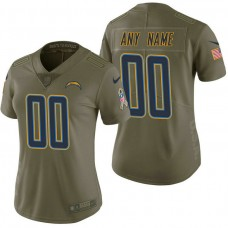 Women's Los Angeles Chargers Olive 2017 Salute to Service Limited Customized Jersey