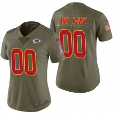 Women's Kansas City Chiefs Olive 2017 Salute to Service Limited Customized Jersey