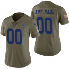 Women's Dallas Cowboys Olive 2017 Salute to Service Limited Customized Jersey