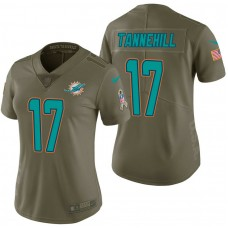 Women's Miami Dolphins #17 Ryan Tannehill Olive 2017 Salute to Service Limited Jersey
