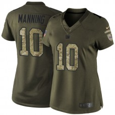 Women's New York Giants #10 Eli Manning Green Salute To Service Limited Jersey
