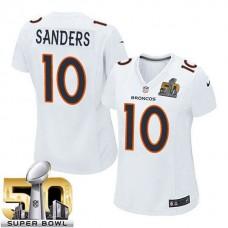 Women's Denver Broncos #10 Emmanuel Sanders White Super Bowl 50 Game Event Jersey