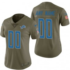 Women's Detroit Lions Olive 2017 Salute to Service Limited Customized Jersey