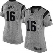 Women's Los Angeles Rams #16 Jared Goff Gray Gridiron Limited Jersey