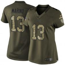 Women's Miami Dolphins #13 Dan Marino Green Salute To Service Jersey