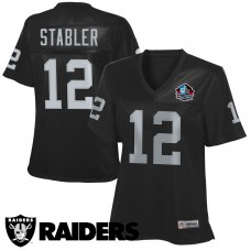Women's Oakland Raiders #12 Ken Stabler Black Hall Of Fame Jersey