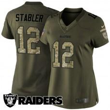 Women's Oakland Raiders #12 Ken Stabler Green Salute To Service Jersey