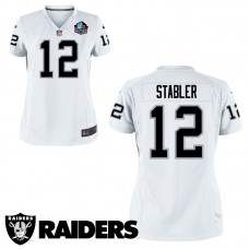 Women's Oakland Raiders #12 Ken Stabler White Hall Of Fame Game Jersey