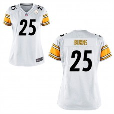 Women's Pittsburgh Steelers #25 Artie Burns White Game Jersey