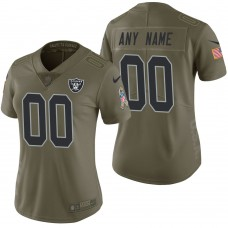 Women's Oakland Raiders Olive 2017 Salute to Service Limited Customized Jersey