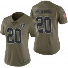 Women's Oakland Raiders #20 Obi Melifonwu Olive 2017 Salute to Service Limited Jersey