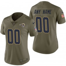 Women's Los Angeles Rams Olive 2017 Salute to Service Limited Customized Jersey