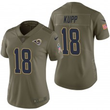 Women's Los Angeles Rams #18 Cooper Kupp Olive 2017 Salute to Service Limited Jersey
