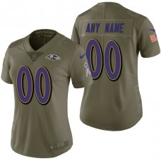 Women's Baltimore Ravens Olive 2017 Salute to Service Limited Customized Jersey