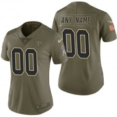 Women's New Orleans Saints Olive 2017 Salute to Service Limited Customized Jersey